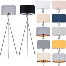 Modern LED Floor Lamp Tripod Chrome XL Drum Shades LED Light Bulb Lounge Light