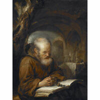 Dou Hermit Praying Religious Man Painting Large Canvas Art Print