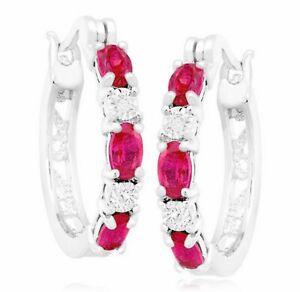 Red Ruby  Hoop Dangle Earrings Women Jewelry 14K Gold
