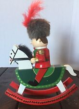 Wooden Nutcracker Rocking Horse Soldier Feather  Collectible Holiday Decor