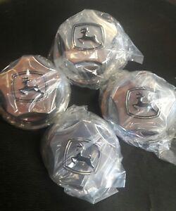 """4 ~ John Deere Chrome Center Hub Caps for XUV Gator with 12"""" Alloy Rims"""