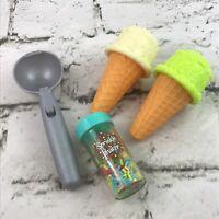 Play Pretend Food Ice Cream Shop Toys Lot Cones Scooper Sprinkle Jar