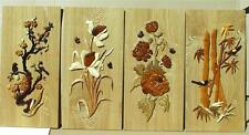 SET OF 4 BEAUTIFUL FLOWER  WALL HANGING HANDCARVED INTARSIA WOOD ART HOME DECOR