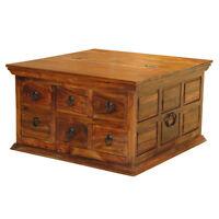 Solid Sheesham Wood 6 Drawer Square Coffee Table Trunk Storage Unit