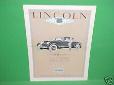1927 LINCOLN LEBARON CABRIOLET LIMOUSINE BROCHURE CATALOG MANUAL BOOK FRENCH 27