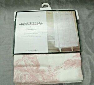 "Waverly IDYLLIC DAYS 100% Cotton Shower Curtain Pink & Cream Toile 72""x72"" NEW 2"