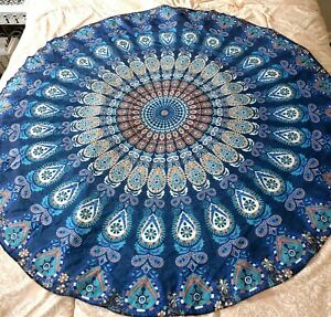 """Indian Blue Tapestry Mandala Round Throw, Table Cover or Wall Handing 56""""x56"""""""