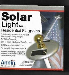 Annin Flagmakers Flag Pole Solar Light For Residential Silver 3 LED'S American