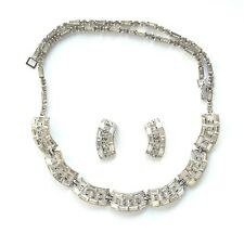 Bogoff Baguette Rhinestone Curved Link Necklace & Earrings