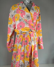 "Vintage Dressing Gown Pink Floral 1960 70's Size WX Full Length 40"" Chest"