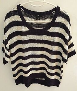 H&M Striped Sweater Drop Shoulder Short Sleeve Oversized Cardigan Over Shirt