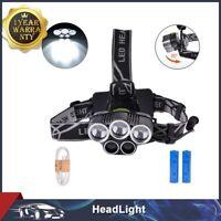 80000LM 5x LED Headlamp HeadLight Flashlight USB Rechargeable+18650 Battery