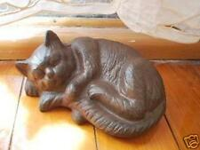 Rustic Cast Iron Sleeping Cat Home Garden Ornament Door Stopper