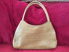 ANN TAYLOR Women's Tan Croc Embossed Genuine Leather MSRP$98.00