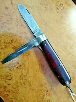 "VINTAGE 1941 ULSTER USA  3.5"" PLASTIC MAHOGANY SWIRL HANDLE ELECTRICIANS KNIFE"