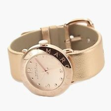 NEW MARC JACOBS AMY ROSE GOLD TONE,SHINY METALLIC LEATHER BAND WATCH-MBM8628
