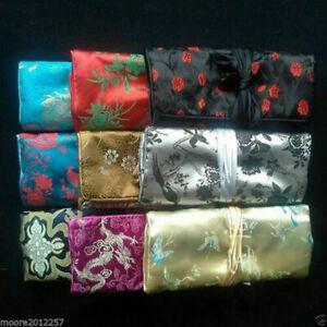 Wholesale 12 pcs SILK JEWELRY TRAVEL BAG Brocade Fabric Organizer Roll Pouch
