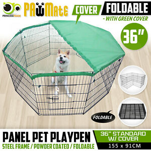 36in 8 Panel Pet Playpen w Cover Portable Cage Fence Enclosure Dog Puppy Rabbit