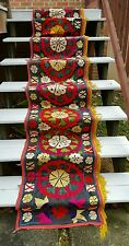 Vintage Suzani Embroidered Tapestry Wall Wedding Aisle Runner 12+ ft. Long!!