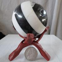 "Black & White Marble sphere 4"" 102mm 3lb. 5.6oz 1520gm rock ball USA made orb"