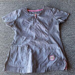 Koi Lite Womens Size M Medium Scrub Top Slim Fit Gray Polyester