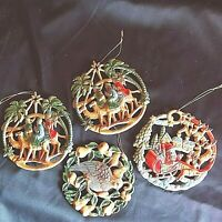 Vintage Santa/Reindeer Partridge Camel/Wise Men Ornaments Lot of 4 Preowned
