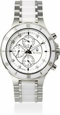 Bulova 98P125 8 Diamonds Silver Tone Chronograph White Ceramic Womens Watch