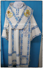 Orthodox Bishop Vestments Embroidered White Blue with icons