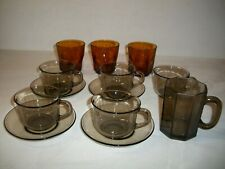 Lot Vintage Smokey Fume & Amber Glassware Arcoroc France & Durax Cups Saucers