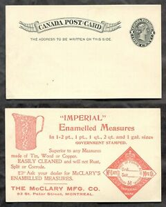 4352- MONTREAL 1890s McClary Enamelled Measures ILLUSTRATED Advertising Postcard