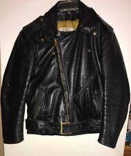 Vintage Bates Black Leather Motorcycle Jacket Size 40 Great For Harley Davidson
