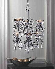 Hanging candle chandeliers ebay black iron and smoky glass bi level hanging tealight candle chandelier mozeypictures Choice Image