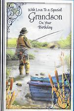 Speciale nipote Compleanno Carta, tema della pesca, Loveley VERSE,10.5 X 7 pollici (B3