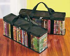 Set/2 DVD Media Black Storage Bags Case 20.5x8.5 zippered holds 40 movies ea NIP