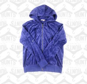 Blue Velour Juicy Couture Zip Hoodie   Medium