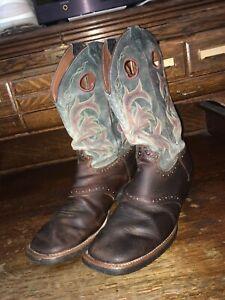 Justin Stampede Punchy Men's Boots Dark Brown 2520 SZ 10.5 D Square Toe