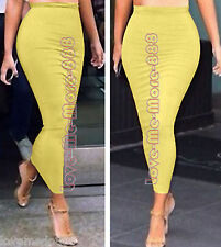 WOMENS Casual Party Club Slim Fit Full Length LONG Skirt Dress Yellow SMALL