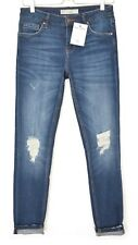 Topshop Skinny Boyfriend LUCAS Dark Blue Ripped Frayed Crop Jeans Size 8 W26 L32