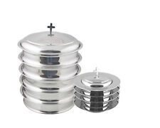 Holy 5 Wine Serving Trays and 5 Stacking Bread Plates With 2 Lids -Mirror Finish