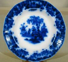"""Staffordshire Flow Blue Alcock Scinde Soup Plate 9 1/2"""" 18391846"""