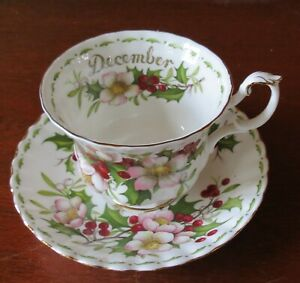 Royal Albert December Christmas Rose Gold Trim Footed Cup & Saucer Set