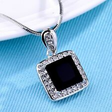 Brilliant Silver/Gold Chain Womens Princess Black Onyx Crystal Pendant Necklace