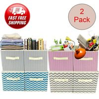 2 x Foldable Canvas Storage Collapsible Box Clothes Home Organizer Fabric Cube