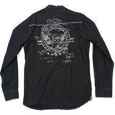 Marc Ecko Cut & Sew Snap Button Shirt Size M Long Sleeve Western Stitch Detail