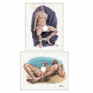 Set of 2 Mann Art NUDE MALE Original Watercolor & Oil Paintings Gay Interest