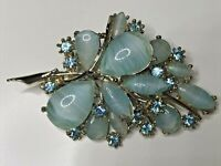 Vintage 1950's  EXQUISITE Blue Picasso Glass Diamante Layered Flower Brooch Gift