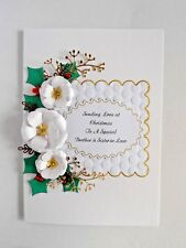 Personalised Handmade Carte de Noël Quilled Large White Rose