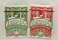 2-Triumph Playing Cards Deck Standard/Poker Size Linen Casino Red/Green Holiday