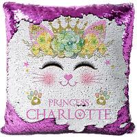 Personalised Kitten Sequin Cushion Magic Reveal Girls Cat Christmas Gift MC030