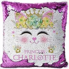Personalised Kitten Sequin Cushion Magic Reveal Girls Cat Birthday Gift MC030